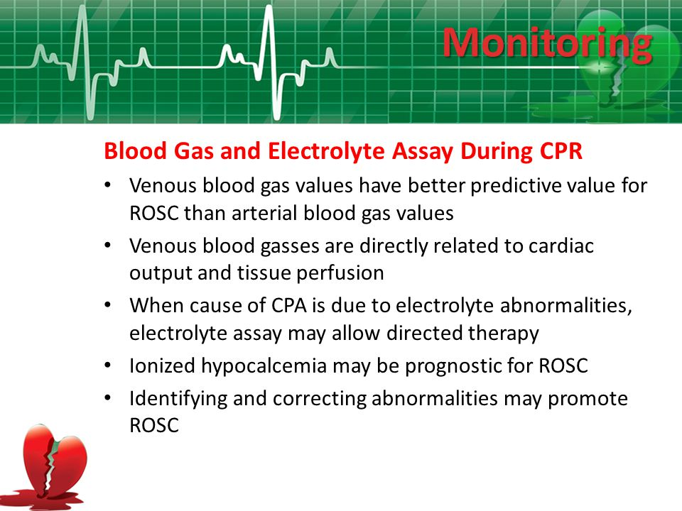 Monitoring Blood Gas and Electrolyte Assay During CPR