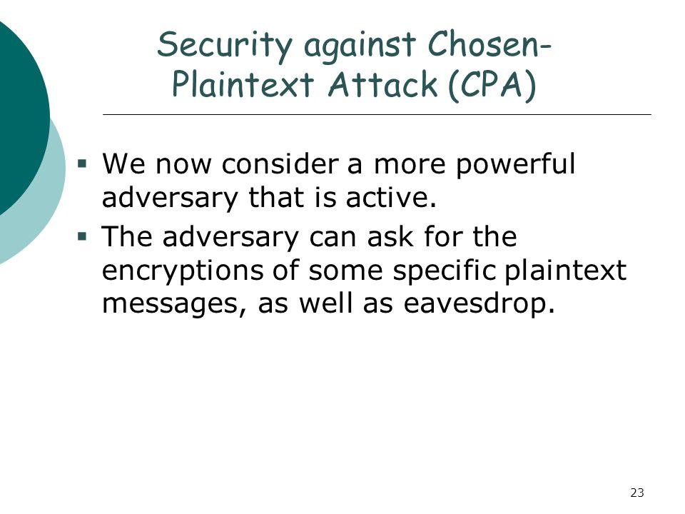 Security against Chosen-Plaintext Attack (CPA)
