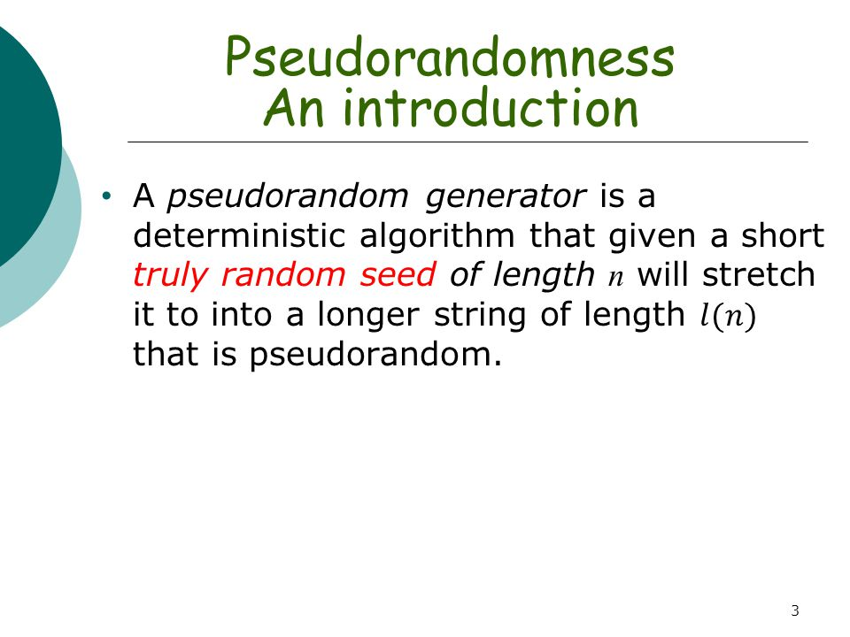 Pseudorandomness An introduction