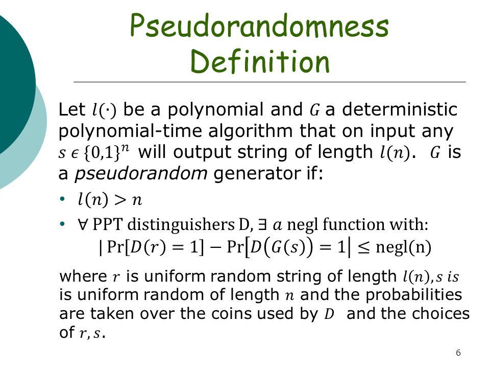 Pseudorandomness Definition