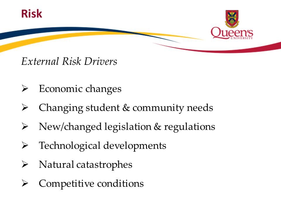 External Risk Drivers Economic changes