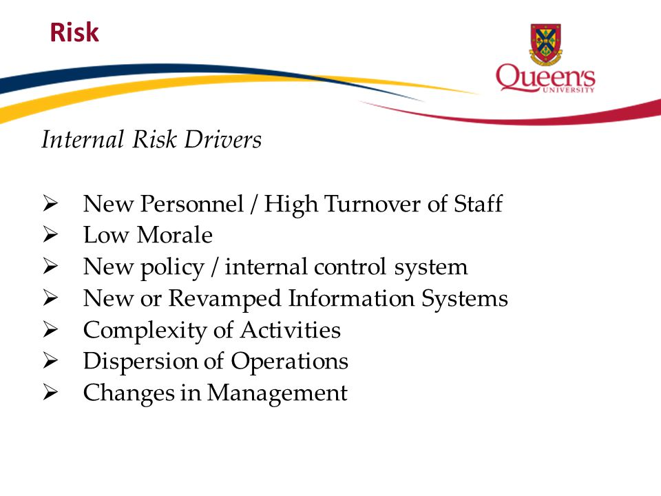Risk Internal Risk Drivers New Personnel / High Turnover of Staff