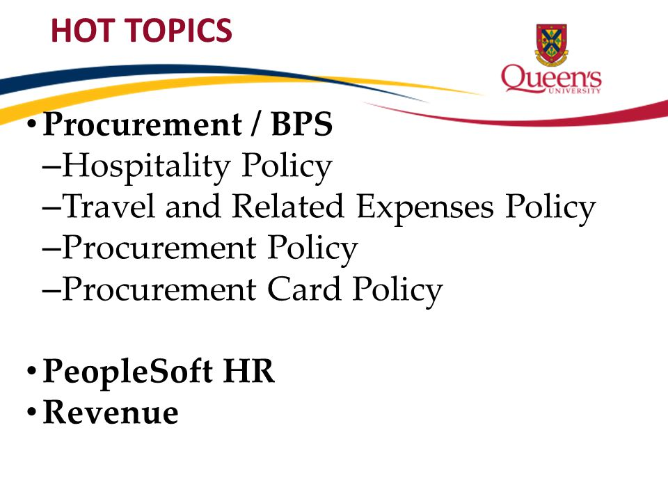 HOT TOPICS Procurement / BPS Hospitality Policy