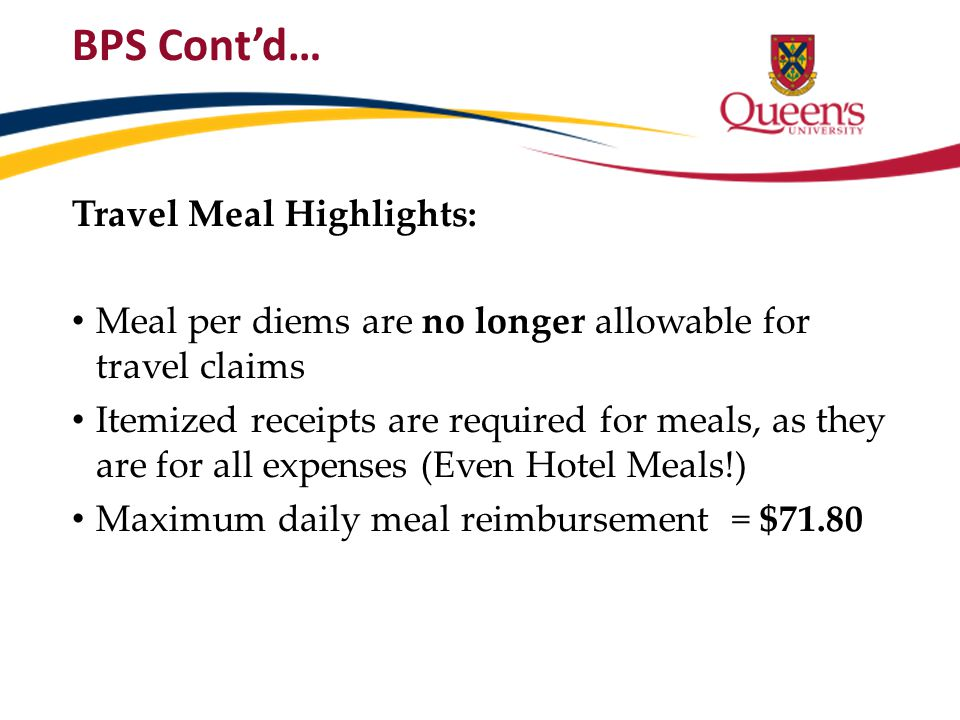 BPS Cont'd… Travel Meal Highlights: