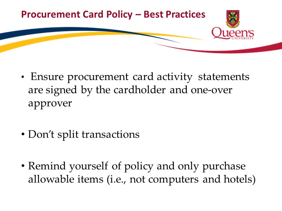Procurement Card Policy – Best Practices