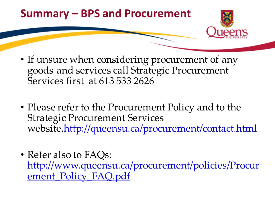 Summary – BPS and Procurement