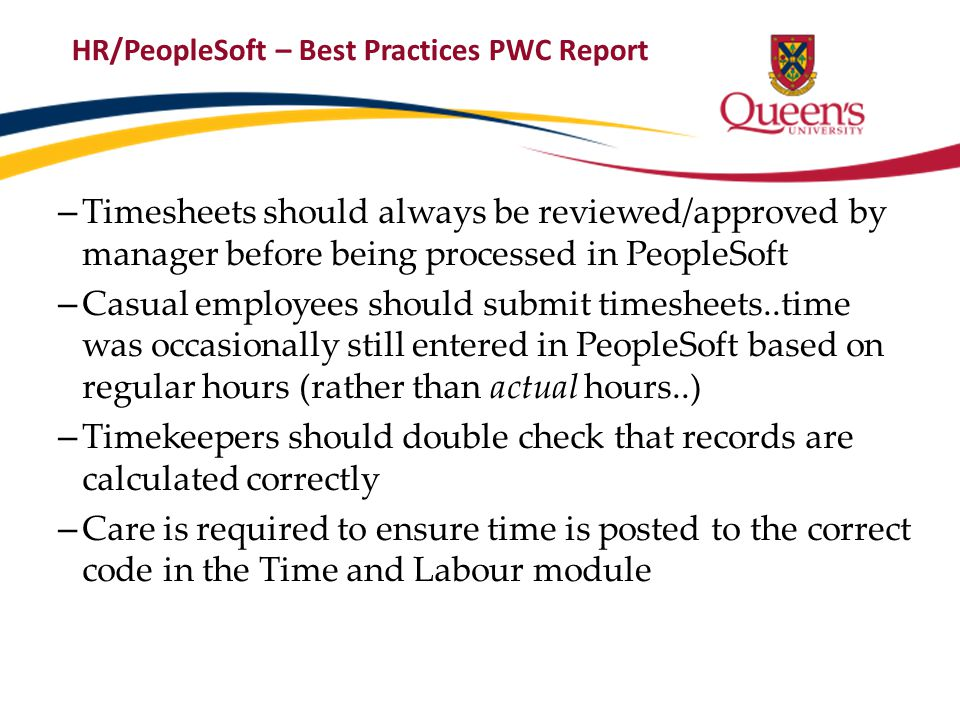 HR/PeopleSoft – Best Practices PWC Report