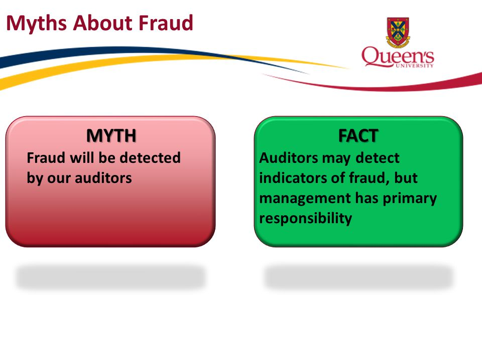 Myths About Fraud MYTH FACT Fraud will be detected by our auditors