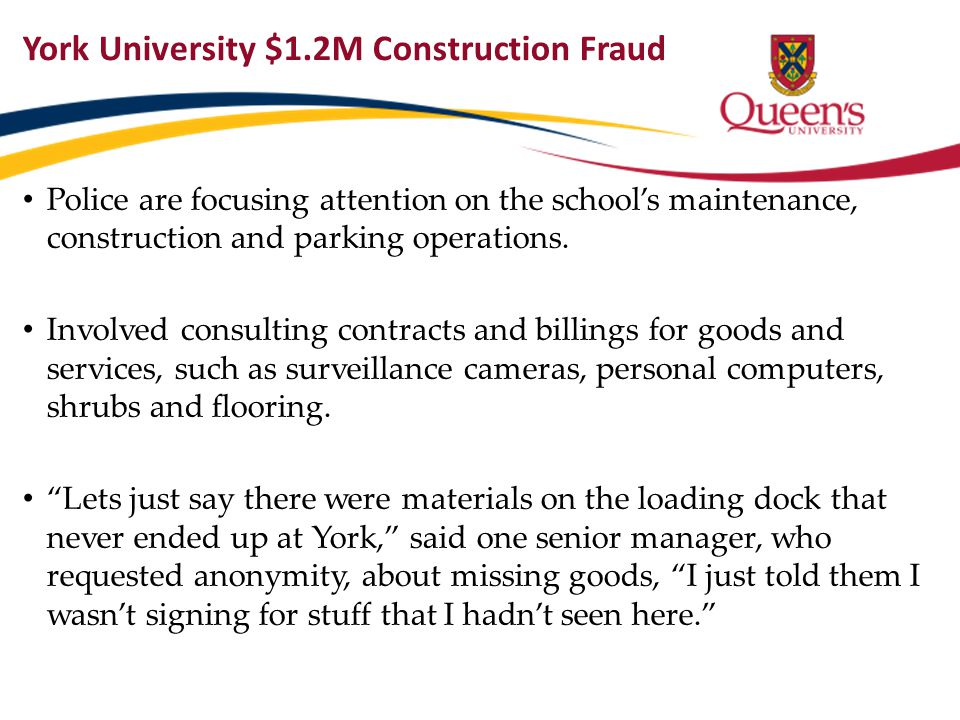 York University $1.2M Construction Fraud