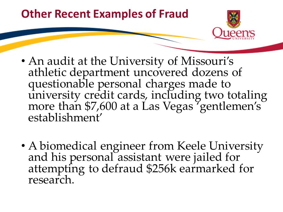Other Recent Examples of Fraud