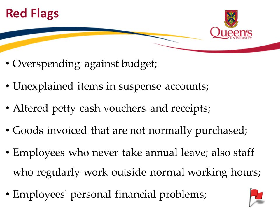Red Flags Overspending against budget;