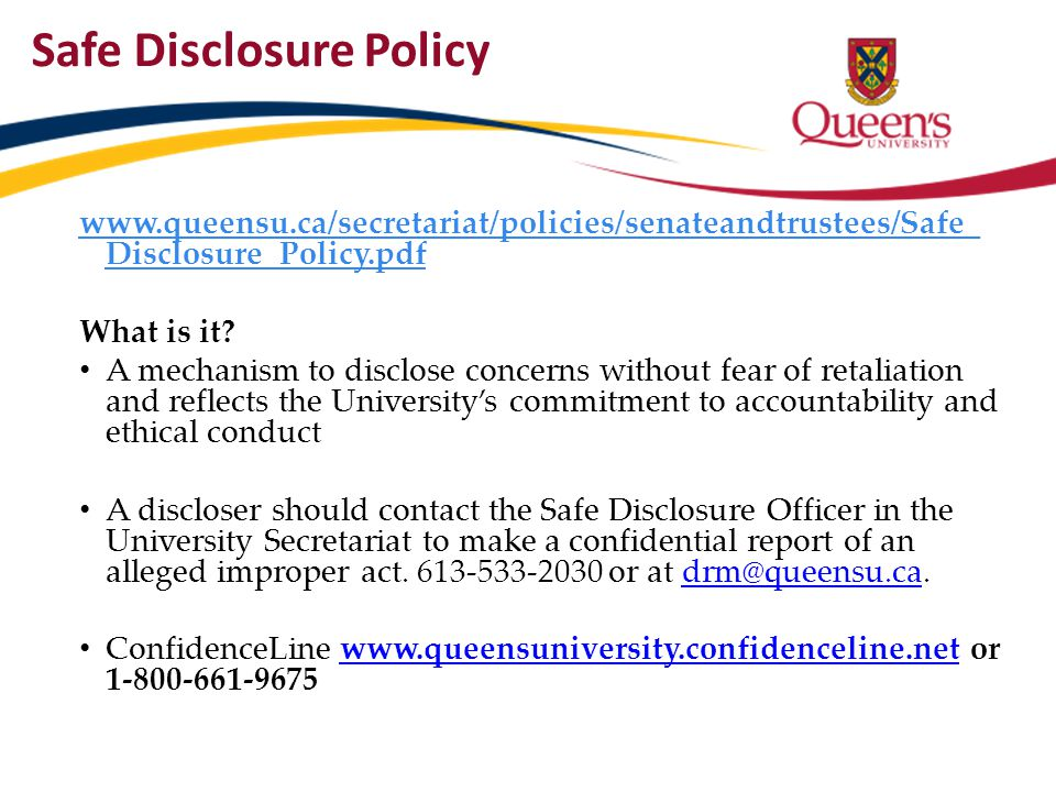 Safe Disclosure Policy