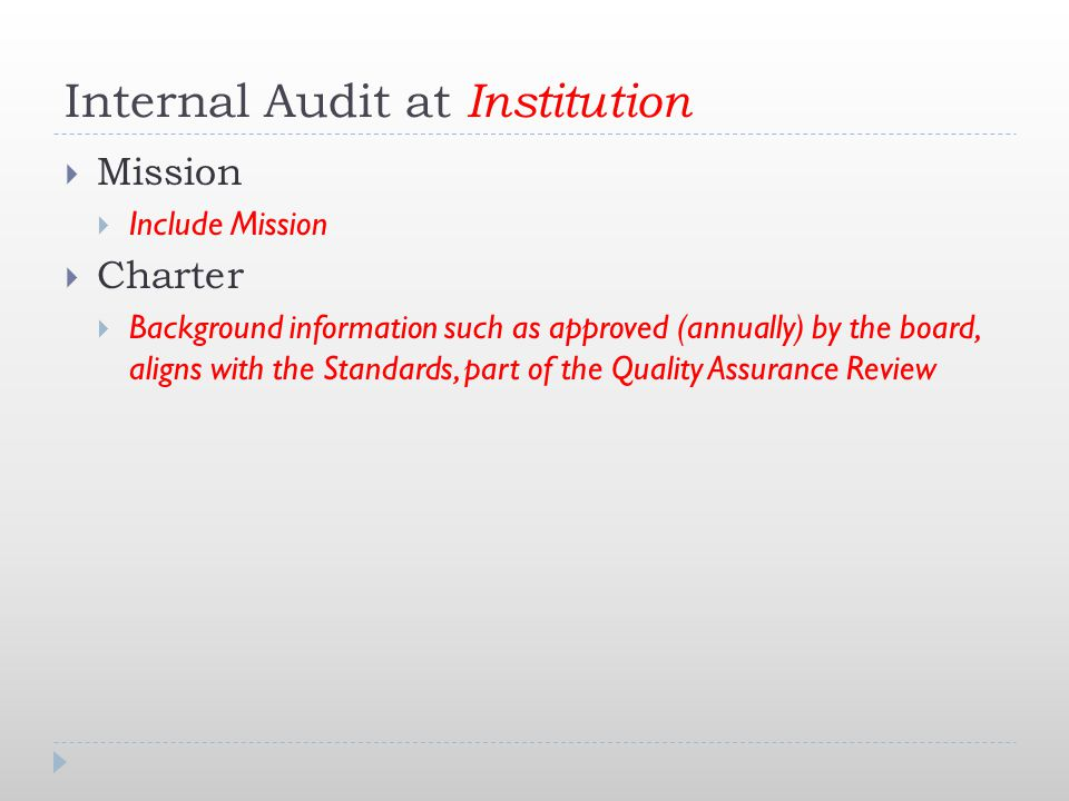 Internal Audit at Institution