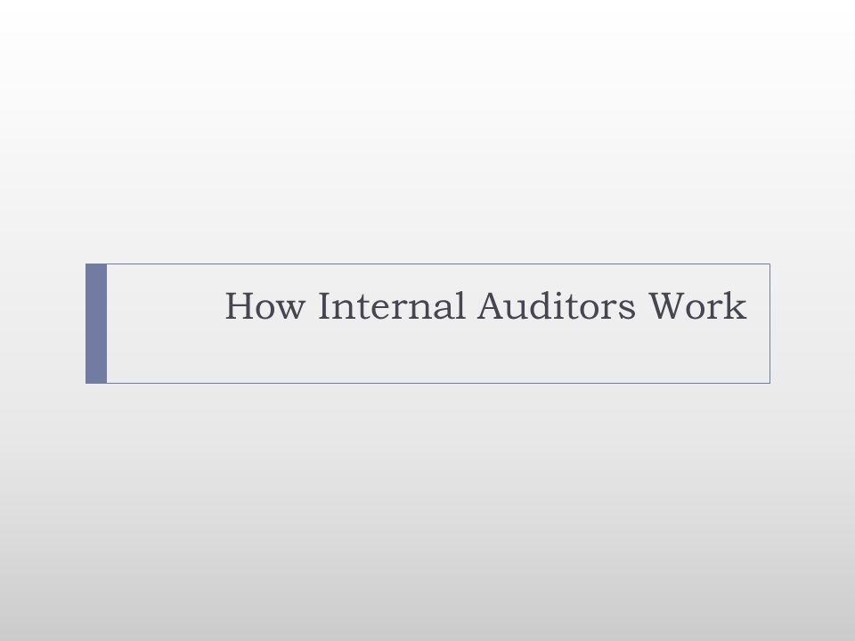 How Internal Auditors Work