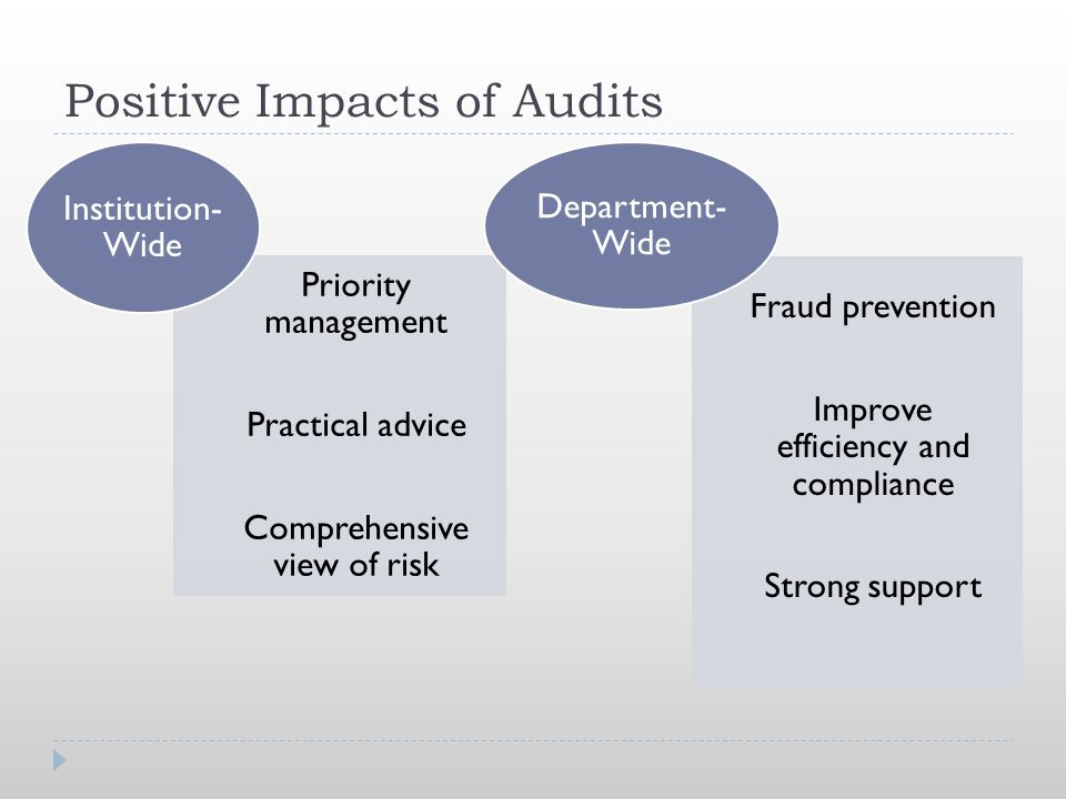 Positive Impacts of Audits