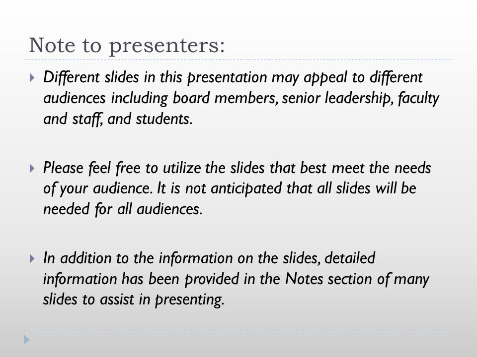 Note to presenters: