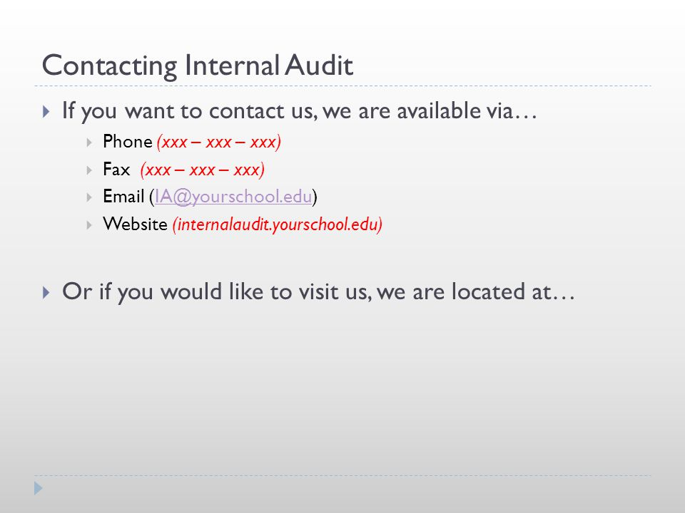 Contacting Internal Audit