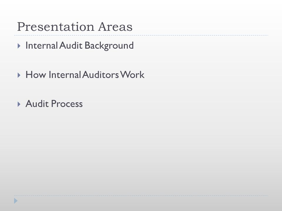Presentation Areas Internal Audit Background