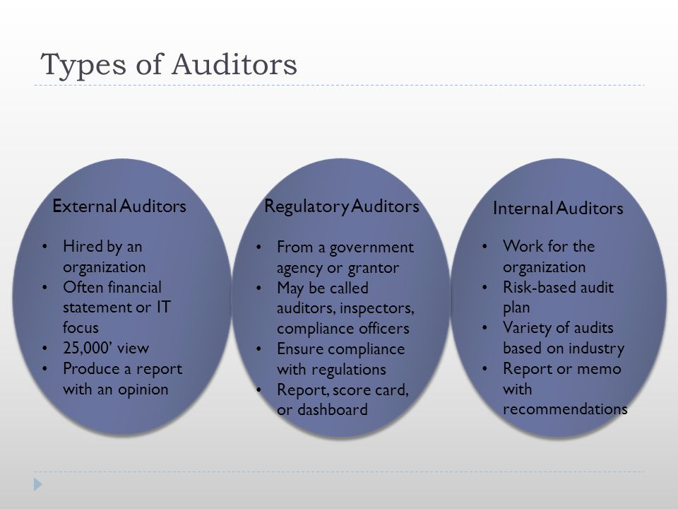 Types of Auditors External Auditors Regulatory Auditors
