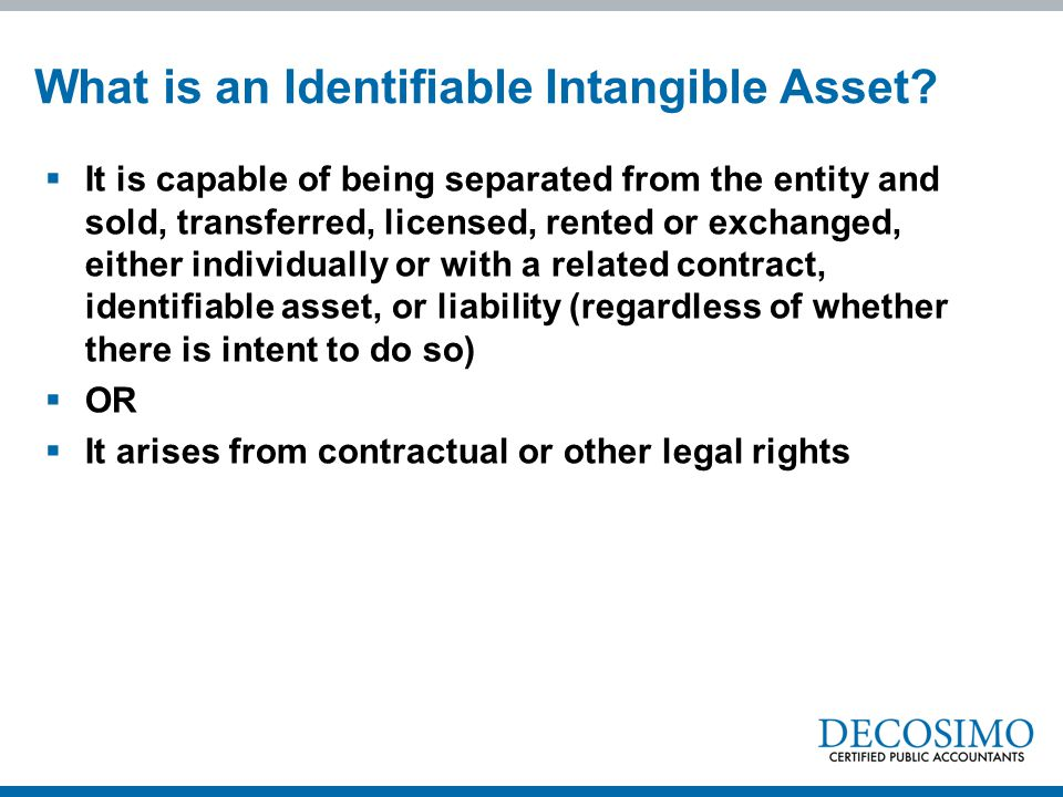 What is an Identifiable Intangible Asset