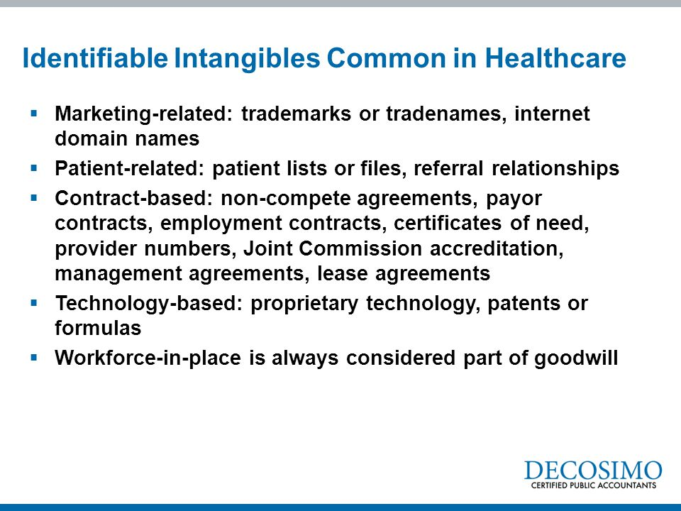 Identifiable Intangibles Common in Healthcare