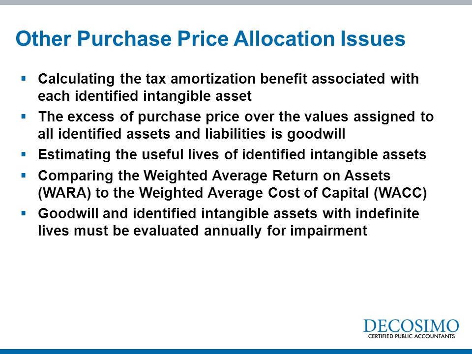 Other Purchase Price Allocation Issues