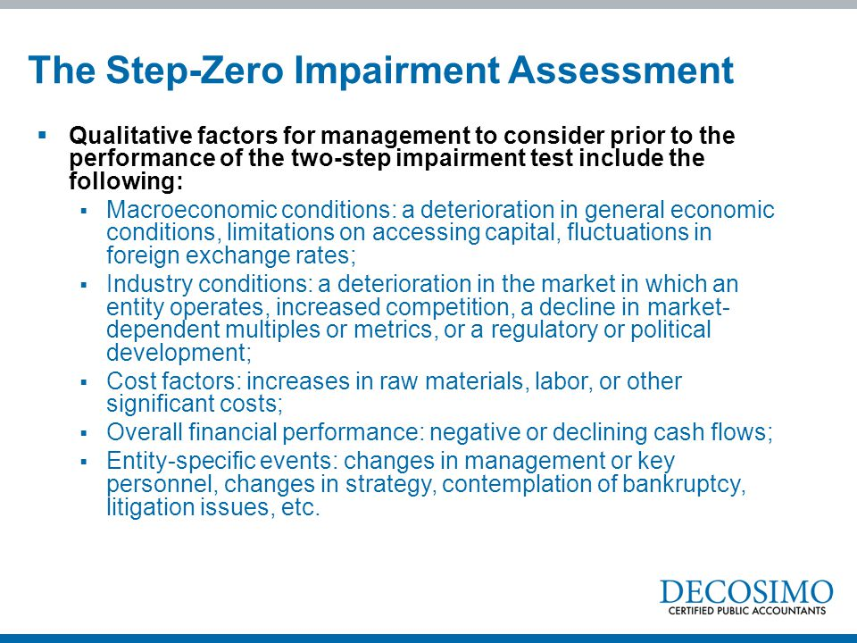 The Step-Zero Impairment Assessment