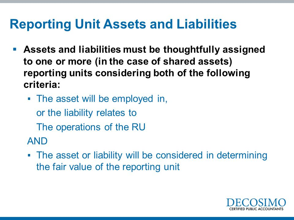 Reporting Unit Assets and Liabilities