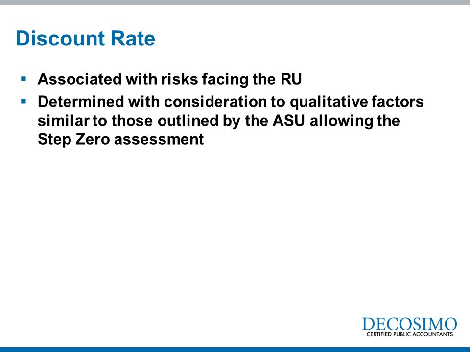 Discount Rate Associated with risks facing the RU