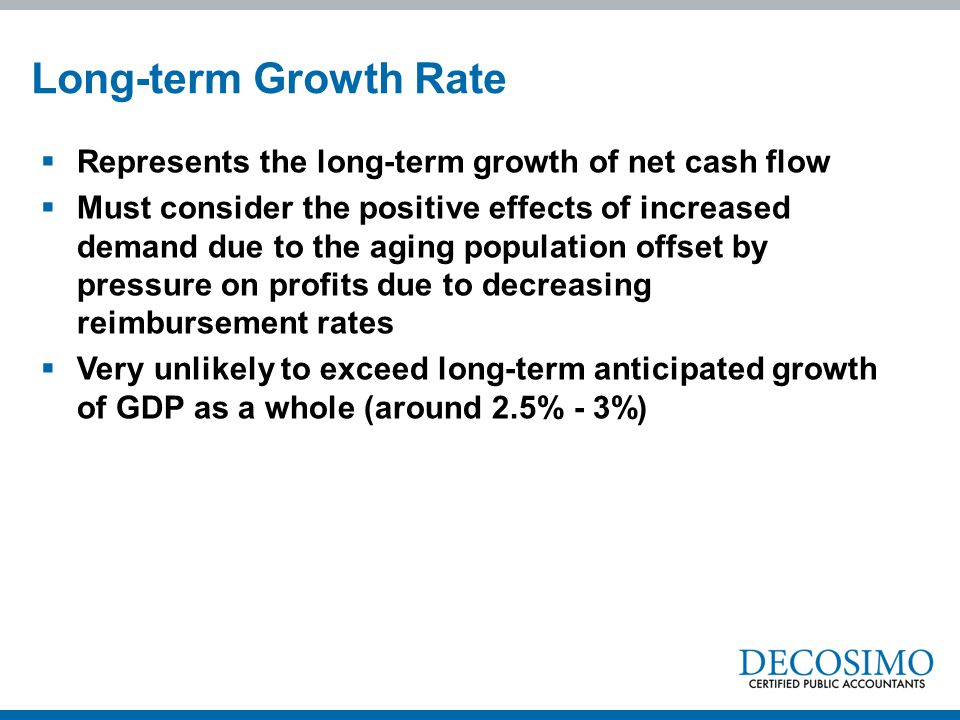 Long-term Growth Rate Represents the long-term growth of net cash flow