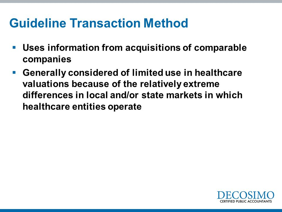 Guideline Transaction Method