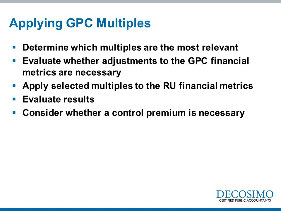 Applying GPC Multiples