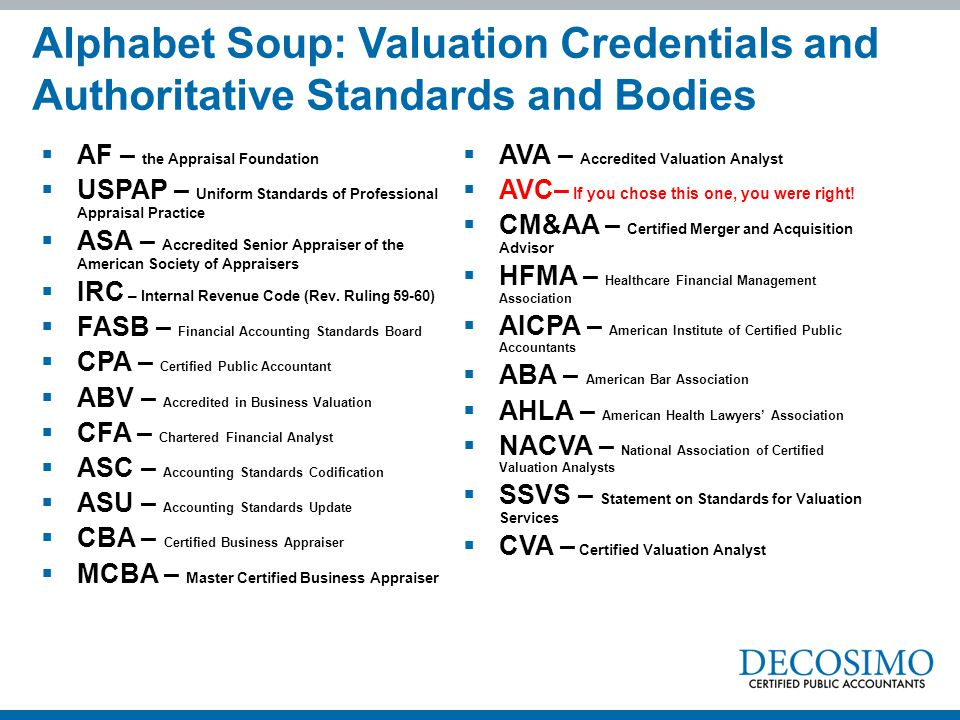 Alphabet Soup: Valuation Credentials and Authoritative Standards and Bodies