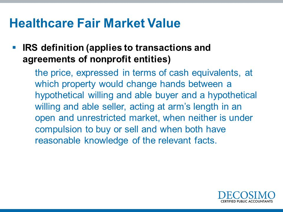 Healthcare Fair Market Value