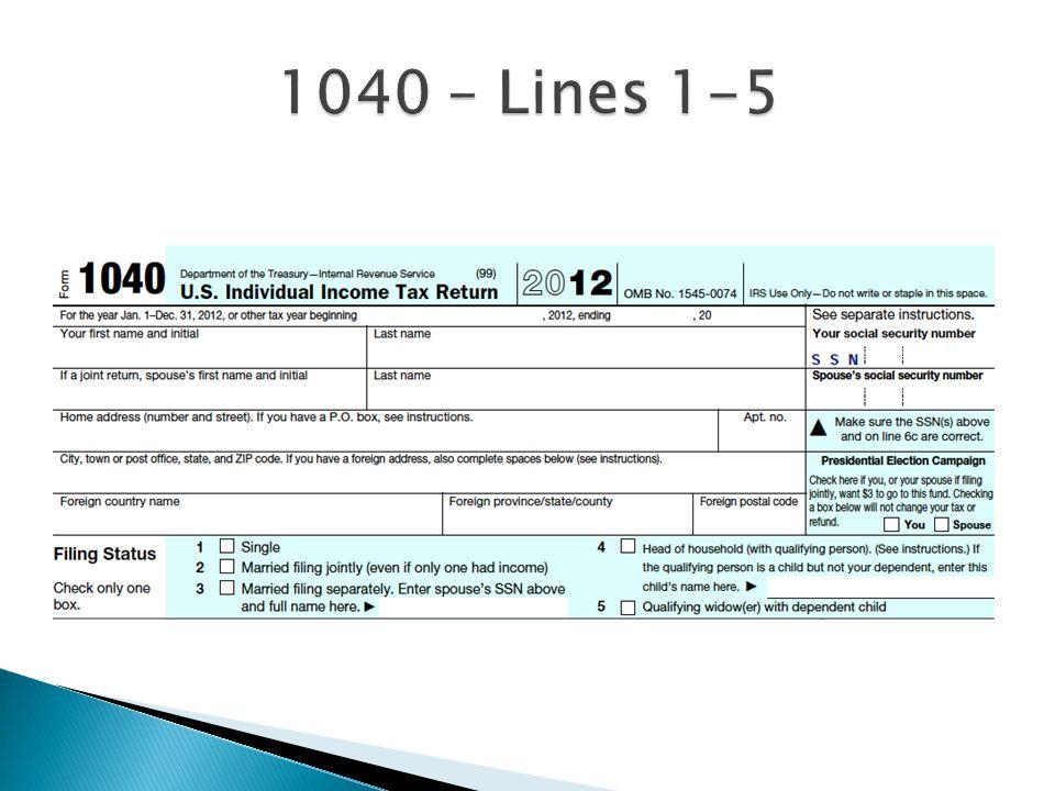 1040 – Lines 1-5