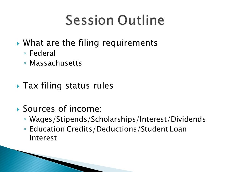 Session Outline What are the filing requirements