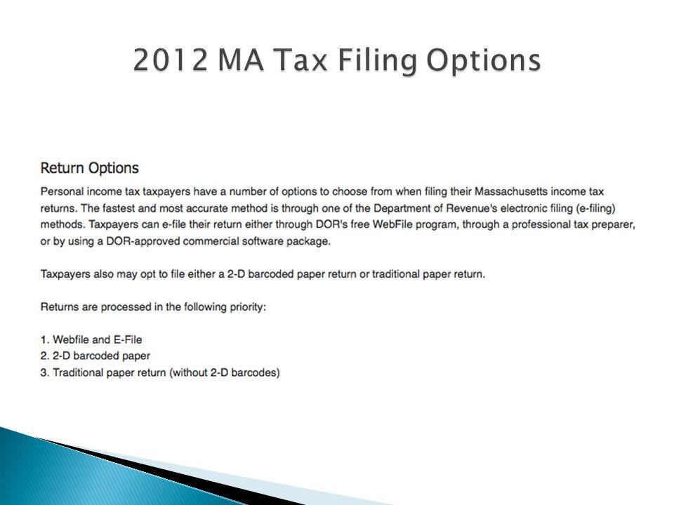 2012 MA Tax Filing Options