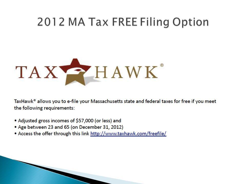 2012 MA Tax FREE Filing Option