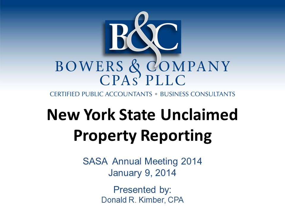 New York State Unclaimed Property Report