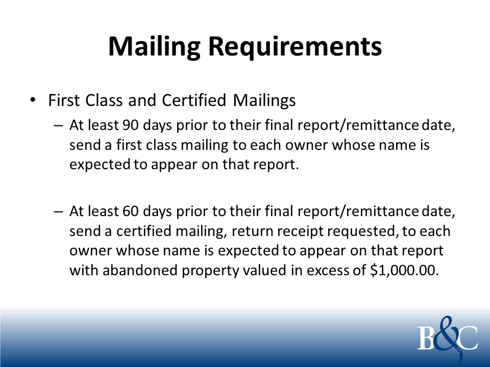 Mailing Requirements Multiple Items Costs