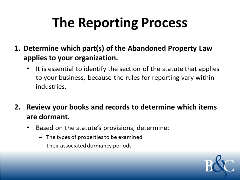 The Reporting Process Calculate the number of items to be reported