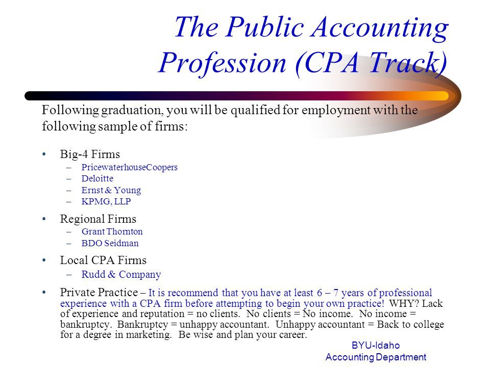 The Public Accounting Profession (CPA Track)