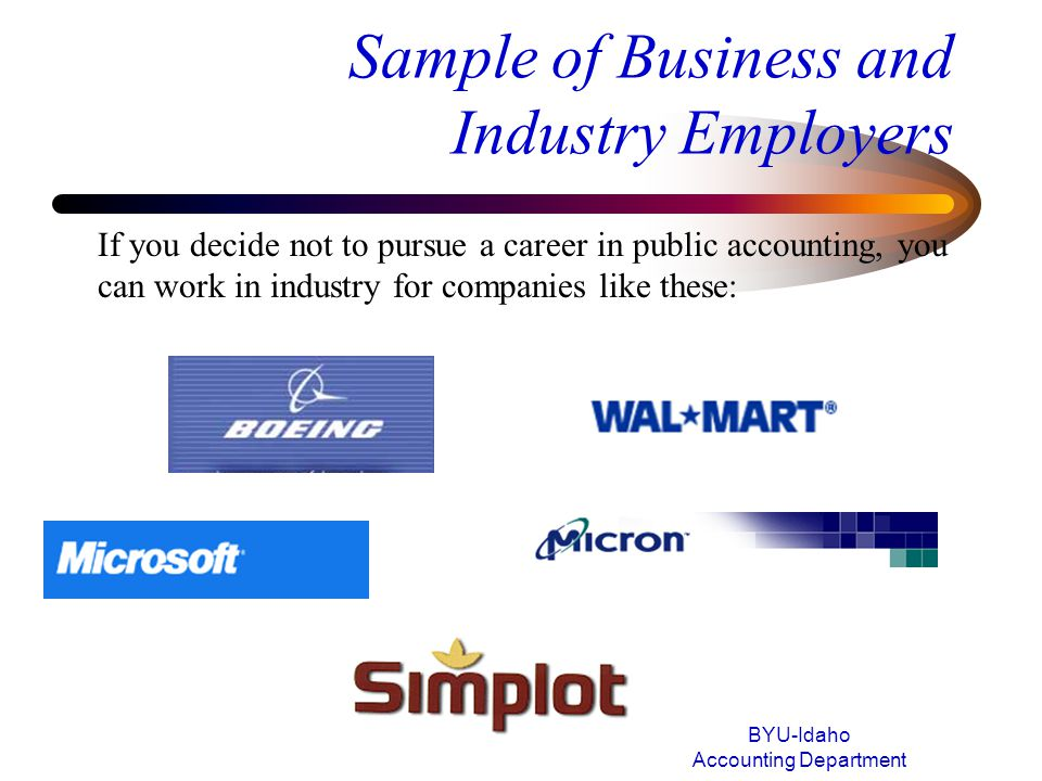 Sample of Business and Industry Employers
