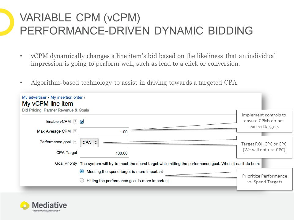 VARIABLE CPM (vCPM) PERFORMANCE-DRIVEN DYNAMIC BIDDING