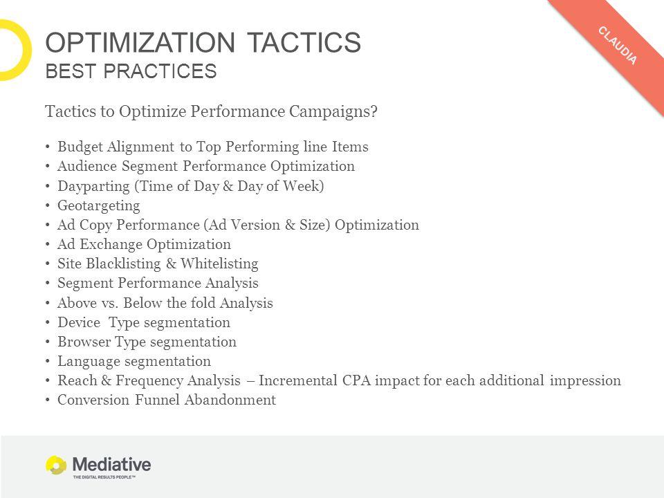 OPTIMIZATION TACTICS BEST PRACTICES