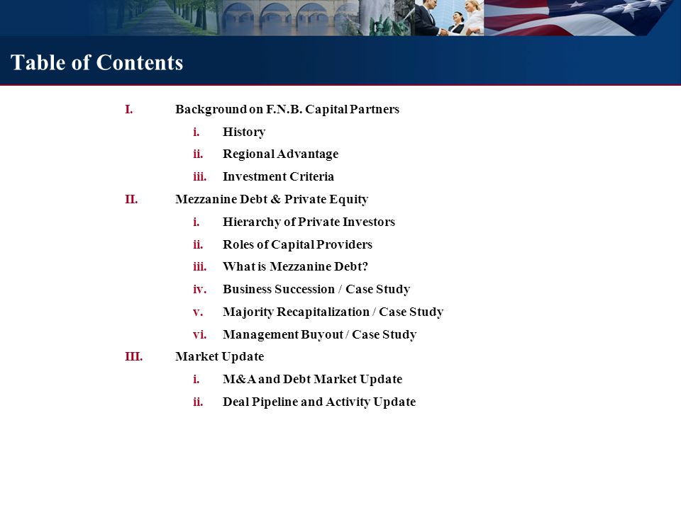 History of F.N.B. Capital Partners
