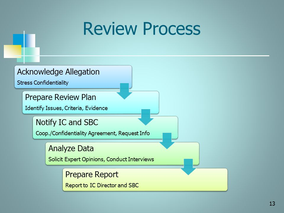 Review Process Notify IC and SBC Prepare Review Plan