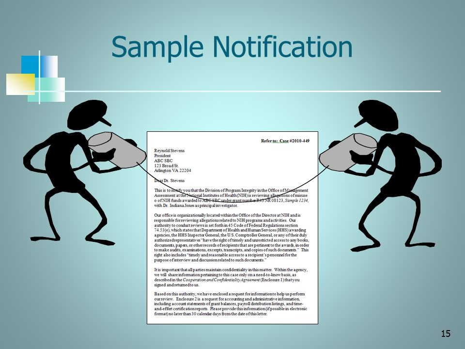 Sample Notification