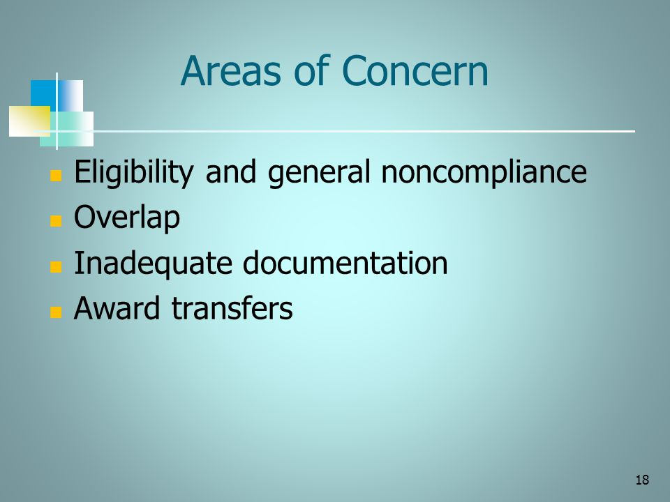 Areas of Concern Eligibility and general noncompliance Overlap