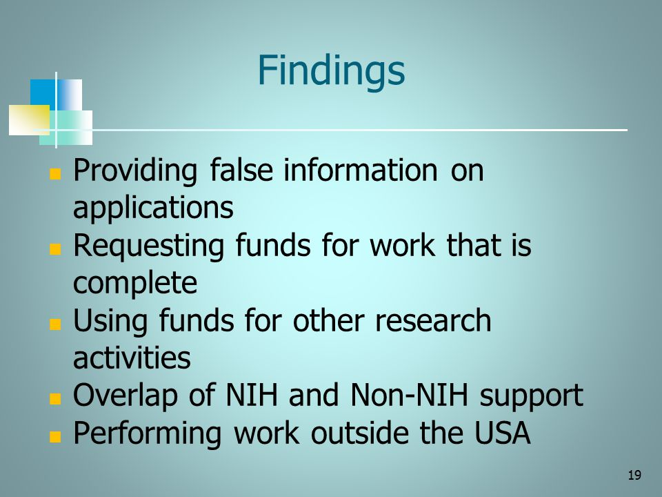 Findings Providing false information on applications